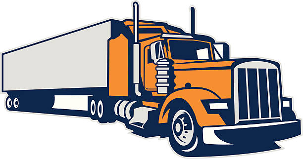 Semi Truck and Trailer A vector illustration of a semi tuck and trailer. semi truck stock illustrations