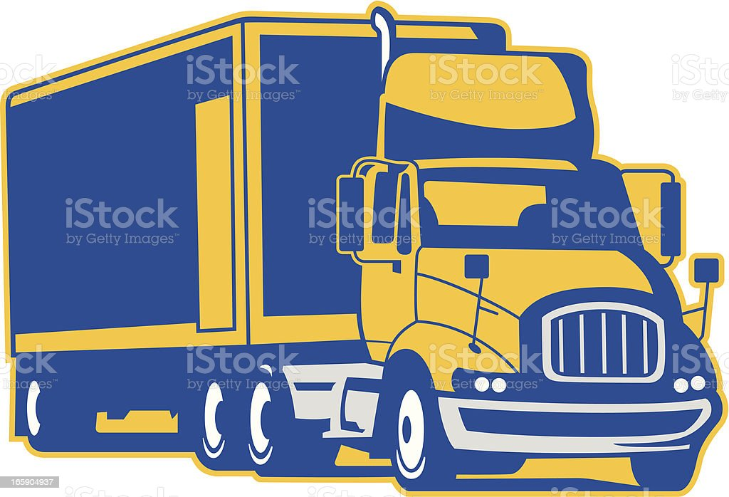 Semi Truck and Trailer vector art illustration