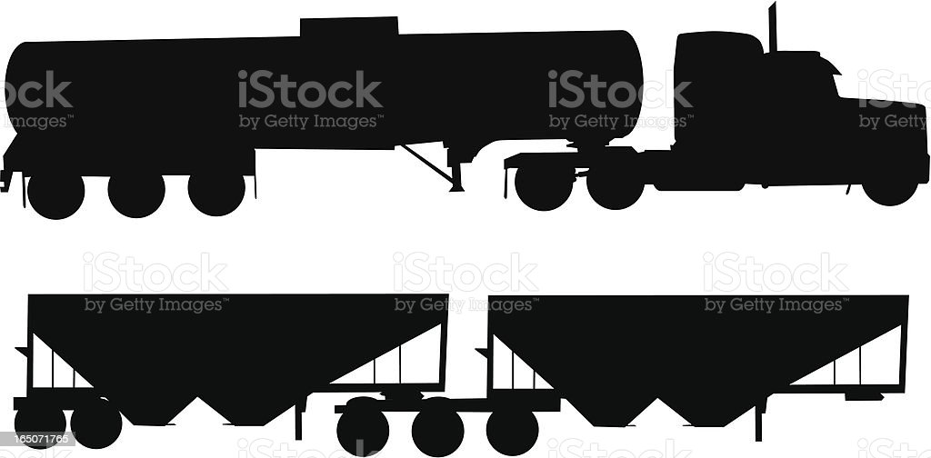 Semi Truck and Trailers royalty-free stock vector art