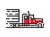 istock Semi truck icon 1161234790