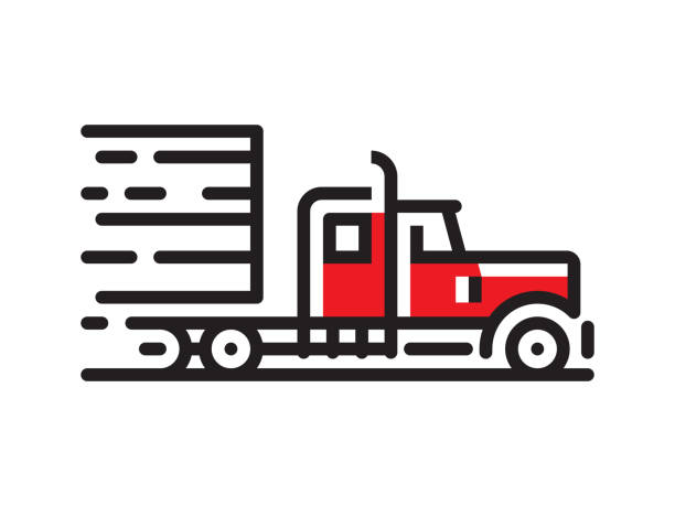 Semi truck icon Vector line logo. Vector EPS 10, HD JPEG 4000 x 3000 px semi truck stock illustrations