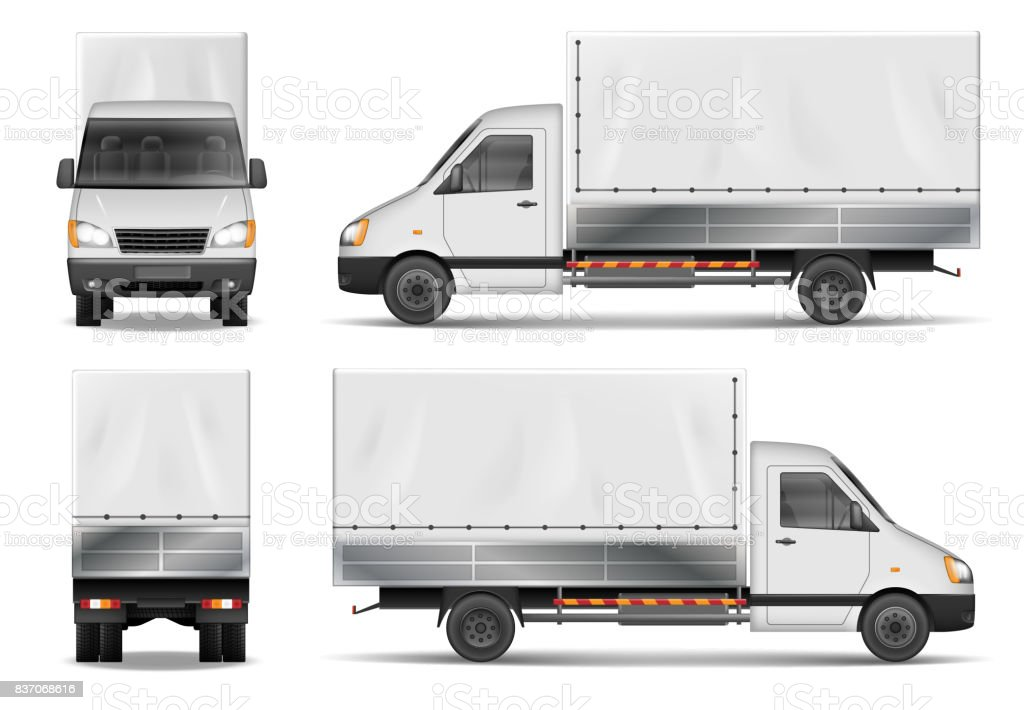 Semi truck isolated on white. Commercial cargo lorry. Delivery truck vector template from side, back, front View vector art illustration