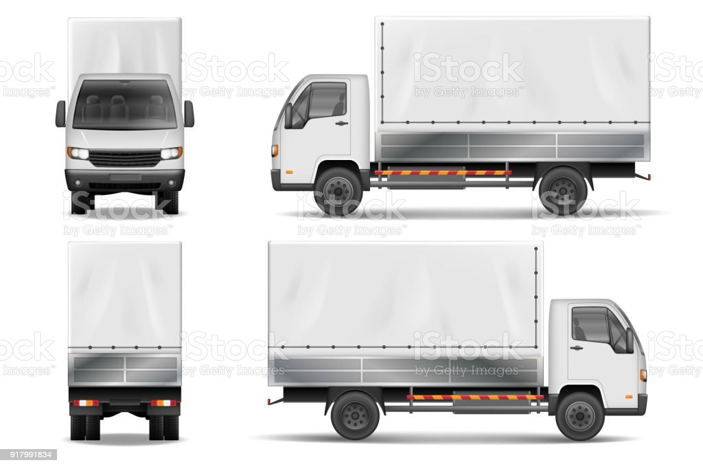 semi truck isolated on white commercial realistic cargo lorry mockup