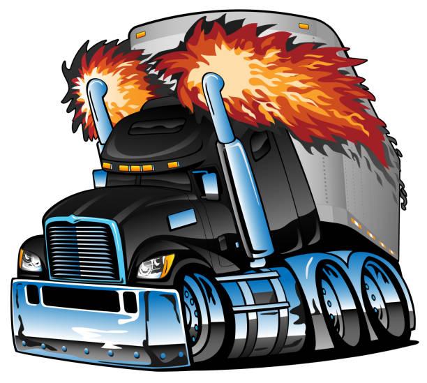 bildbanksillustrationer, clip art samt tecknat material och ikoner med semi lastbil traktor trailer big rig, flammande avgaser, massor av krom, tecknad isolerad vektor illustration - traktor pulling
