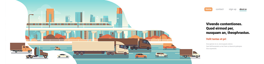 semi truck trailers driving highway road cars lorry over city background delivery cargo concept flat copy space banner vector illustration
