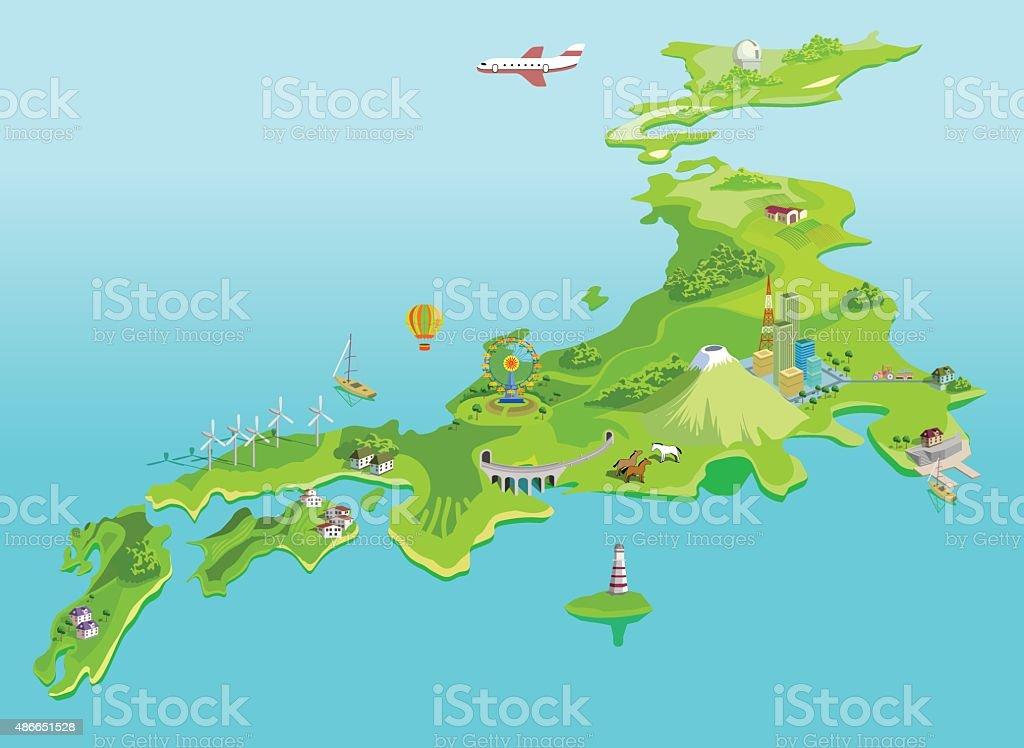 Semiabstract Japan Map Eco Islands Fudzijama Stock Vector Art - Japan map islands