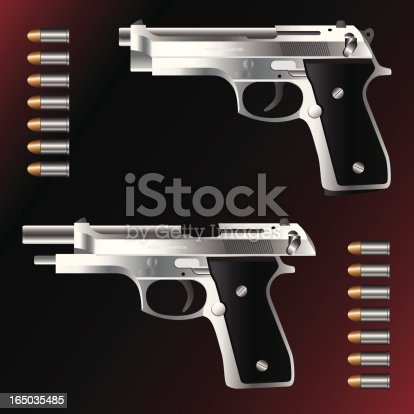 istock Semi-Automatic Hand Gun with Bullets 165035485