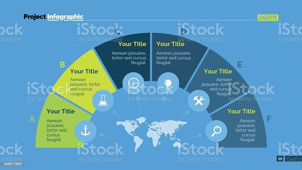 Semicircle Diagram Slide Template vector art illustration