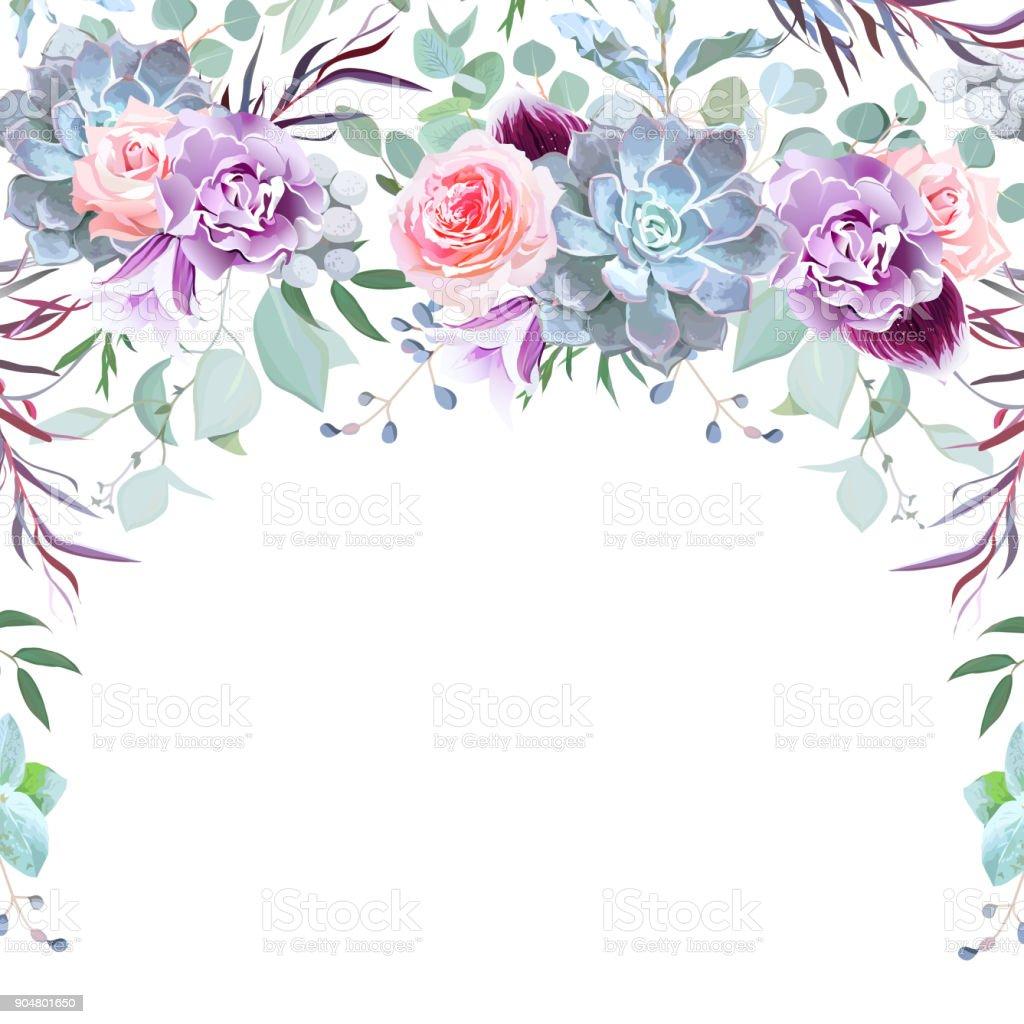 花から配置された半円ガーランド フレーム ベクターアートイラスト
