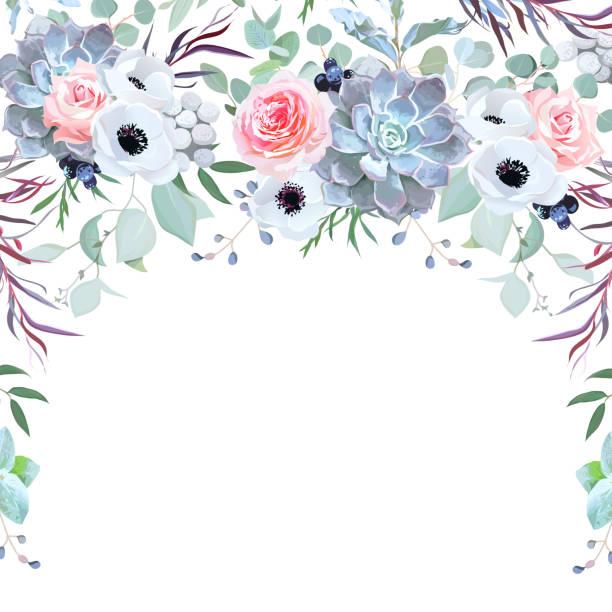 halbkreis girlande pflanzliche rahmen aus blumen arrangiert - kräutermischung stock-grafiken, -clipart, -cartoons und -symbole
