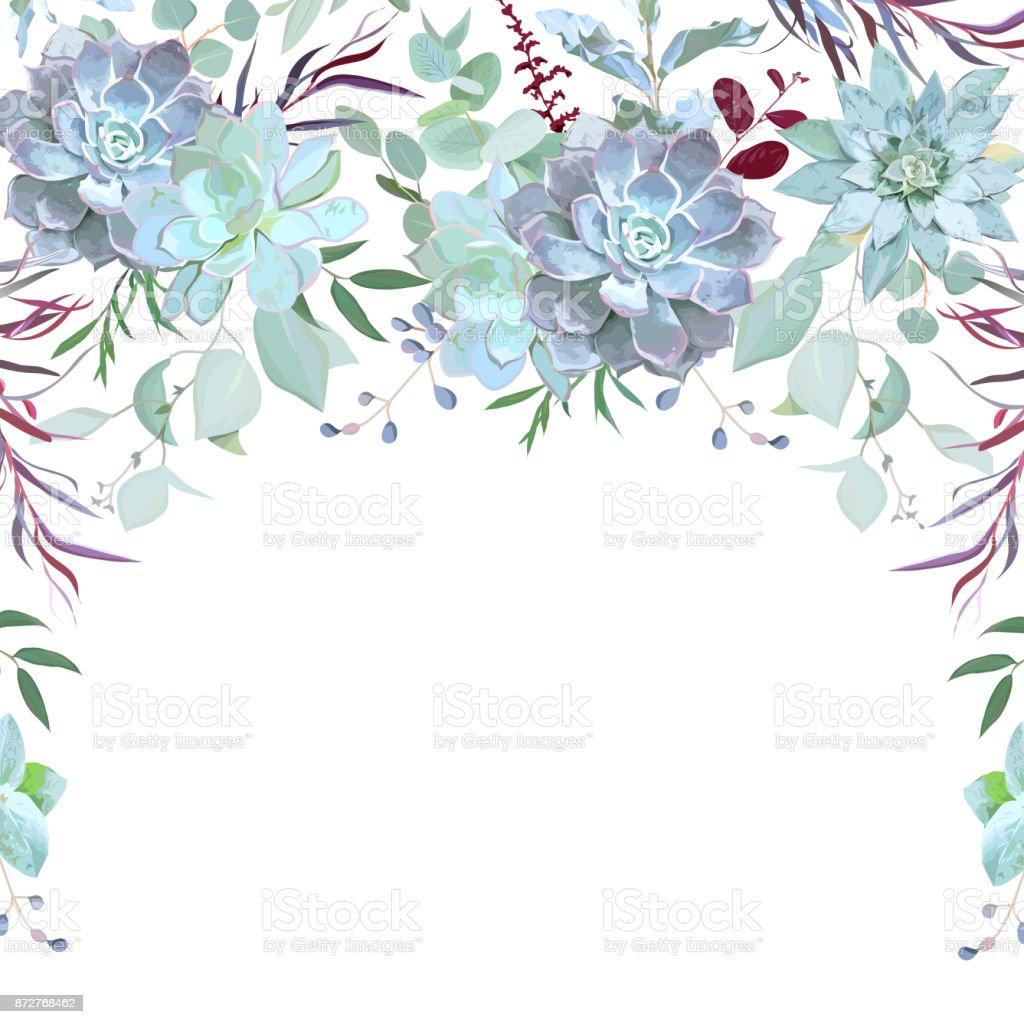 Marco hierbas de semicírculo guirnalda de plantas, ramas, - ilustración de arte vectorial