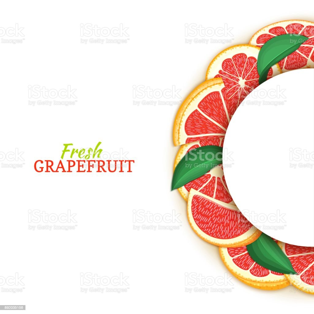 Semicircle White Frame Composed Of Delicious Tropical Red Grapefruit ...