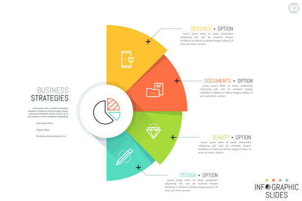 stockillustraties, clipart, cartoons en iconen met halfrond met 4 overlappende kleurrijke sectoren, iconen en tekstvakken. business strategieën en strategische ontwikkeling opties concept. - infographic