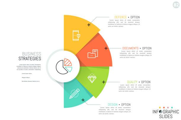ilustraciones, imágenes clip art, dibujos animados e iconos de stock de semicírculo con 4 sectores coloridos superpuestos, iconos y cuadros de texto. concepto de estrategias de negocio y opciones de desarrollo estratégico. - infografías