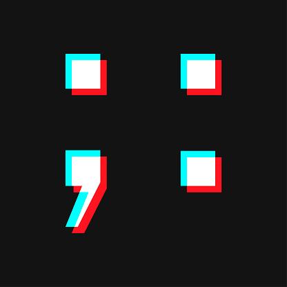 Semicolon icon. Social media concept. Isolated on black background.