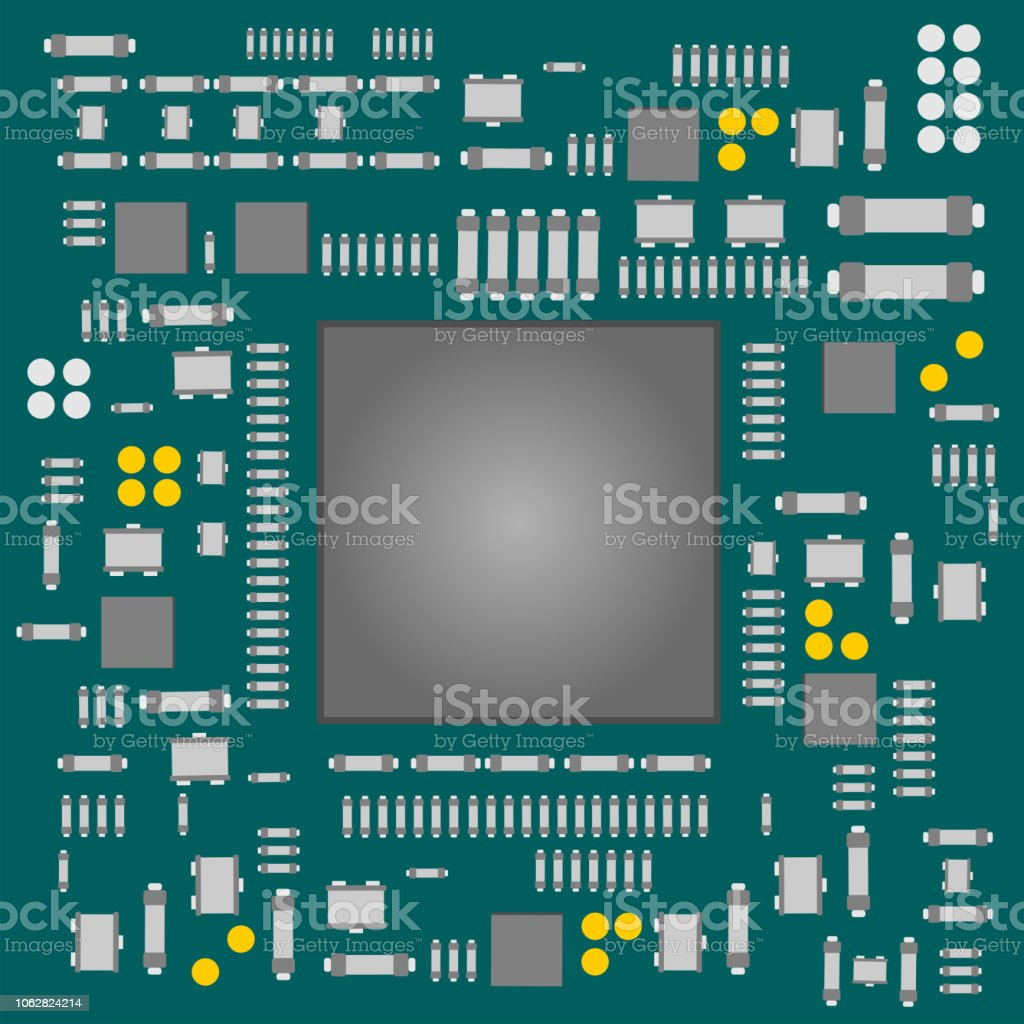 Semiconductor Electronic Components Assembled On Printed Circuit Boards With Clock Hands Royalty Free Stock Image Board