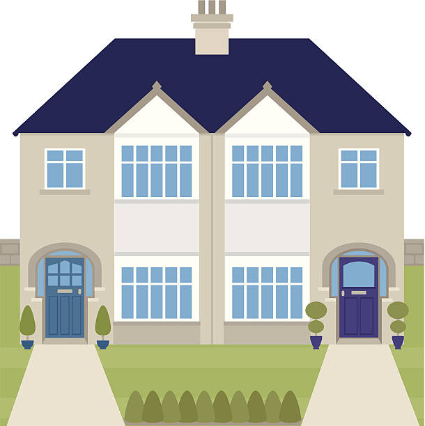 Semi-detached 1930's houses vector art illustration ...