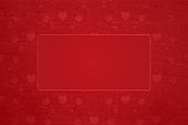 Horizontal vector illustration of maroon colored Xmas wallpaper. There is a border of small stars, gift boxes and heart shapes all around an empty rectangle. Can be used as Christmas, New Year party related celebration, festive backdrops, gift wrapping paper sheet, greeting cards or posters.