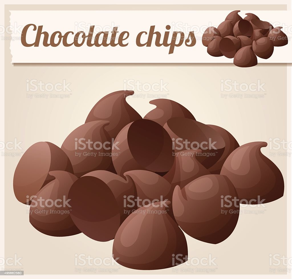 Semisweet chocolate chips. Detailed Vector Icon vector art illustration