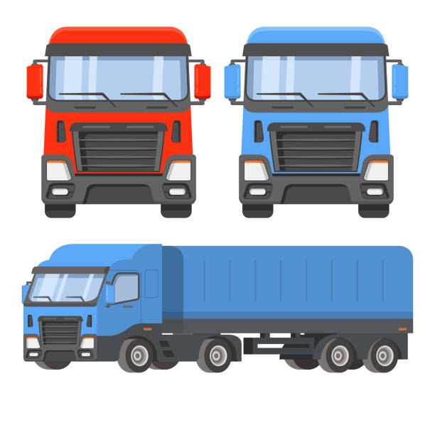 Semi-trailer truck. Front view and sideways. The vehicle cargo delivery logistics.Freight transportation loads car.Flat vector. Curtain siders.Isolated on white background.Refrigerated trailer facade stock illustrations