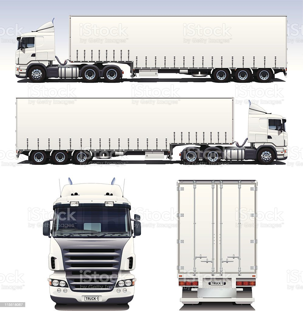 Semi-Trailer Truck vector art illustration