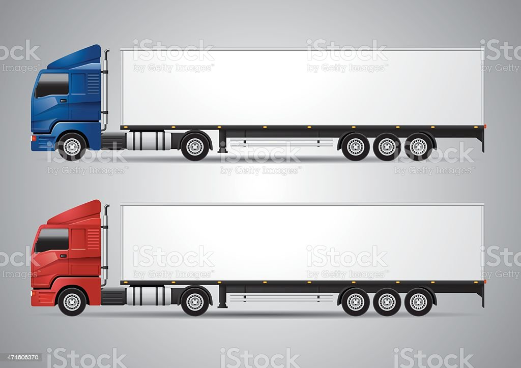 Semi-trailer Truck - Vector vector art illustration
