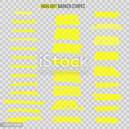 Semitransparent highlight marker stripes isolated on transparent background. Vector design elements.