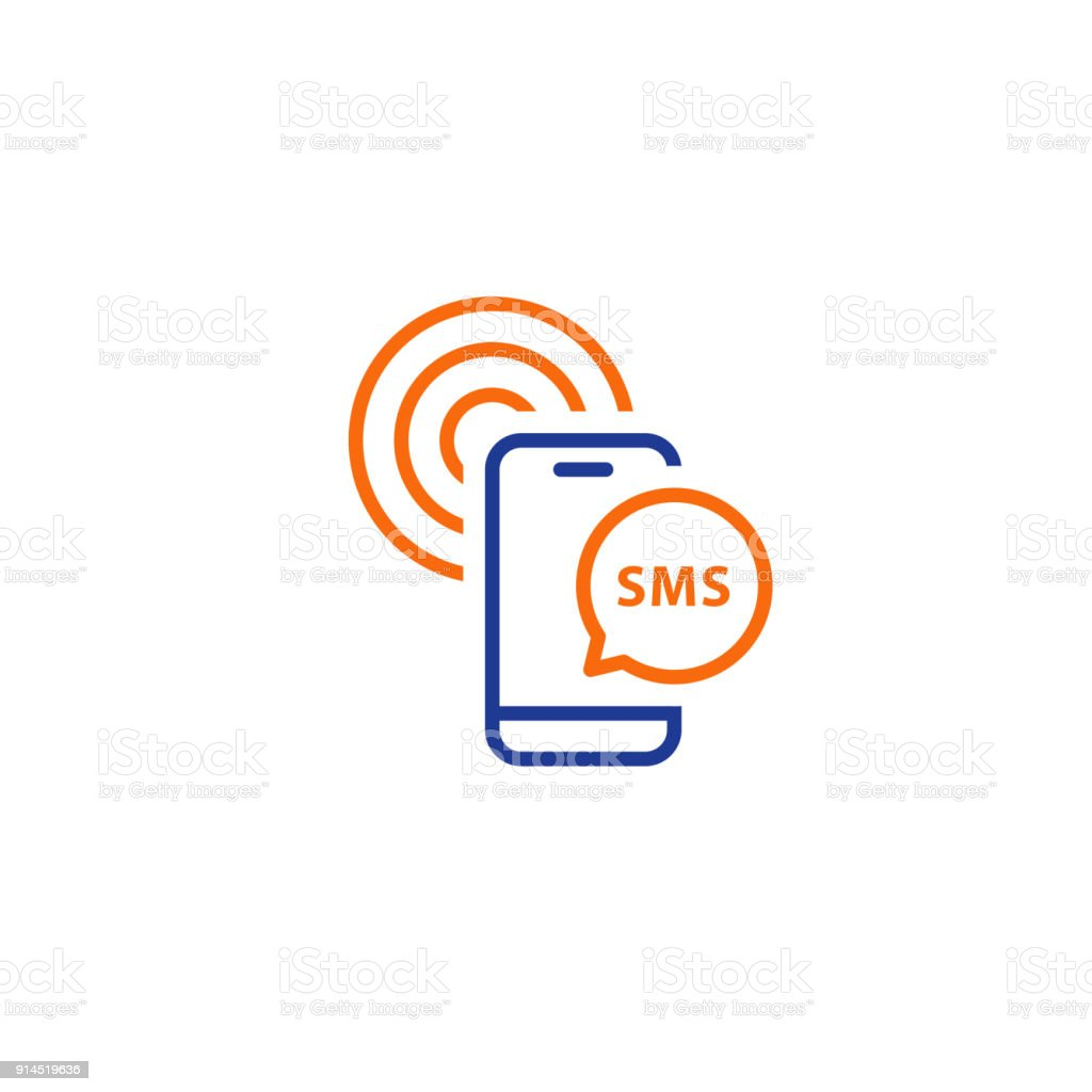 Send Phone Message Receive Sms Notification Line Icons Stock