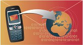 Cell phone sending a message (to europe), binary code and an envelope on the back