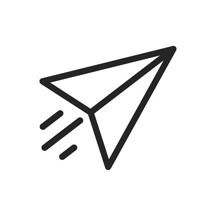 Send symbol, paper airplane icon – stock vector