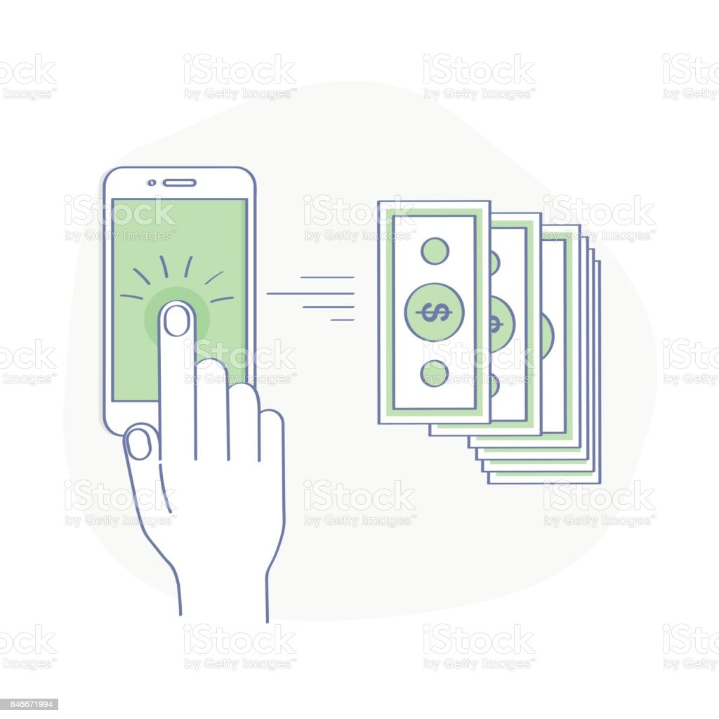 Sending and Receiving Money Wireless with Mobile Phone - Isolated Vector illustration vector art illustration
