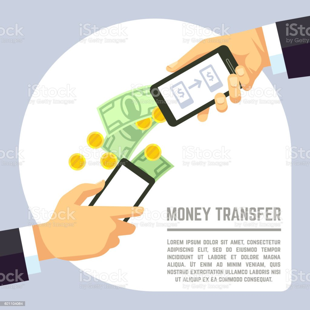 Sending and receiving money wireless with mobile phones  banking payment vector art illustration