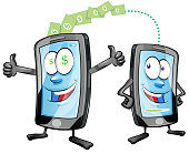 sending and receiving money wireless with mobile phones cartoon characters