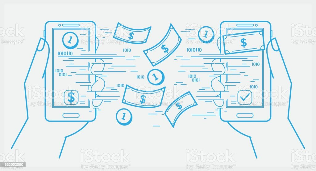 Sending and receiving money with smartphone vector art illustration