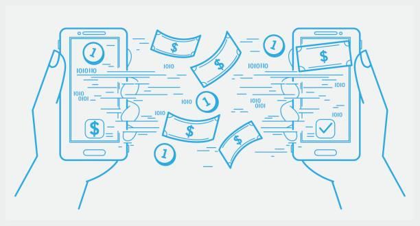 stockillustraties, clipart, cartoons en iconen met verzenden en ontvangen van geld met smartphone - mobiele betaling