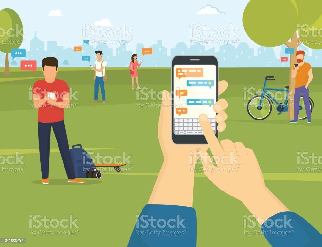 Sending message via messenger on smartphone vector art illustration