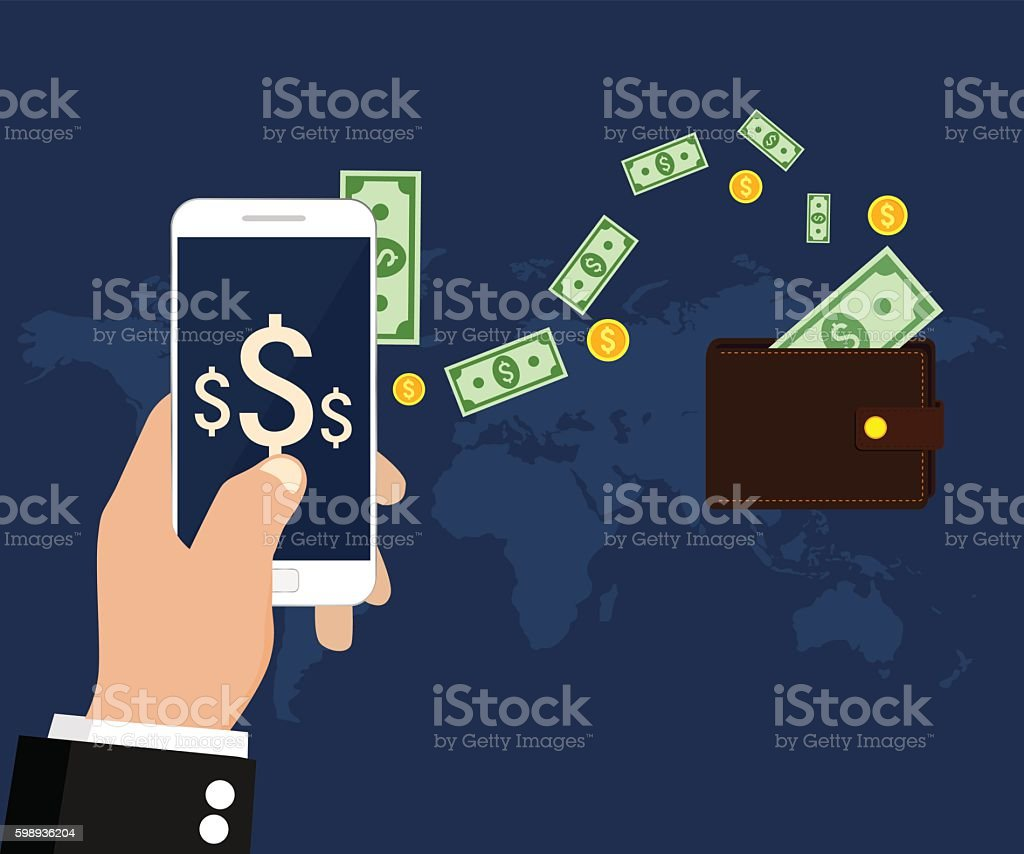 Sending money vector art illustration