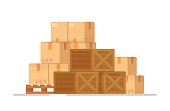 istock Sending parcels by mail from the Internet. Vector illustration of a warehouse of boxes. 1334093258