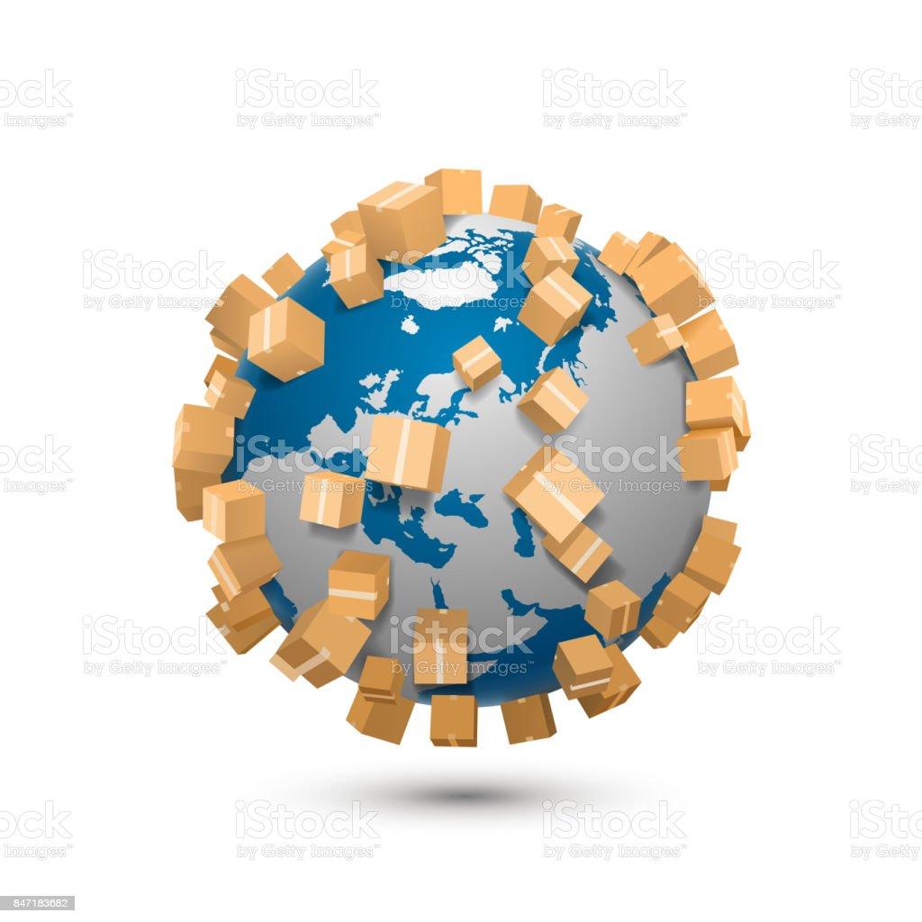 Sending worldwide art sign vector art illustration