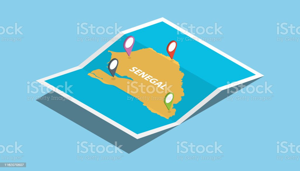 senegal africa explore maps with isometric style and pin location tag...