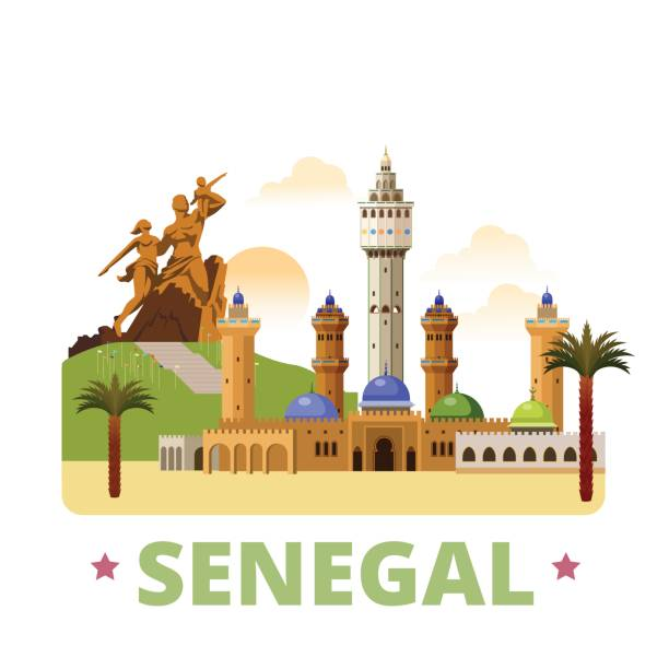 senegal country design flat cartoon style historic sight showplace web site vector illustration. world vacation travel africa african collection. african renaissance monument great mosque of touba. - senegal stock illustrations