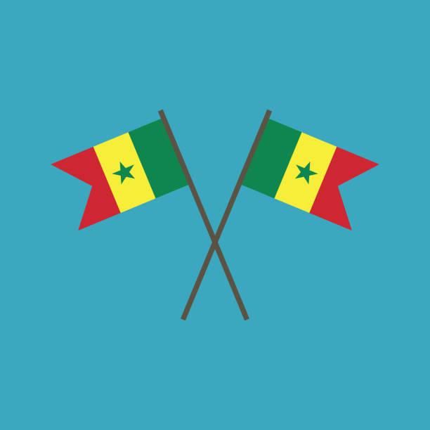 senegal flag icon in flat design - senegal stock illustrations