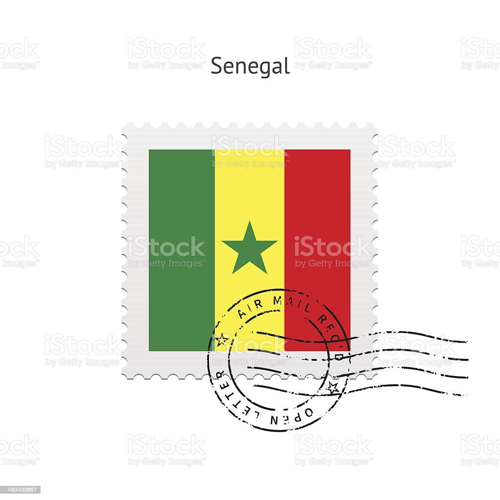 Senegal Flag Postage Stamp royalty-free stock vector art