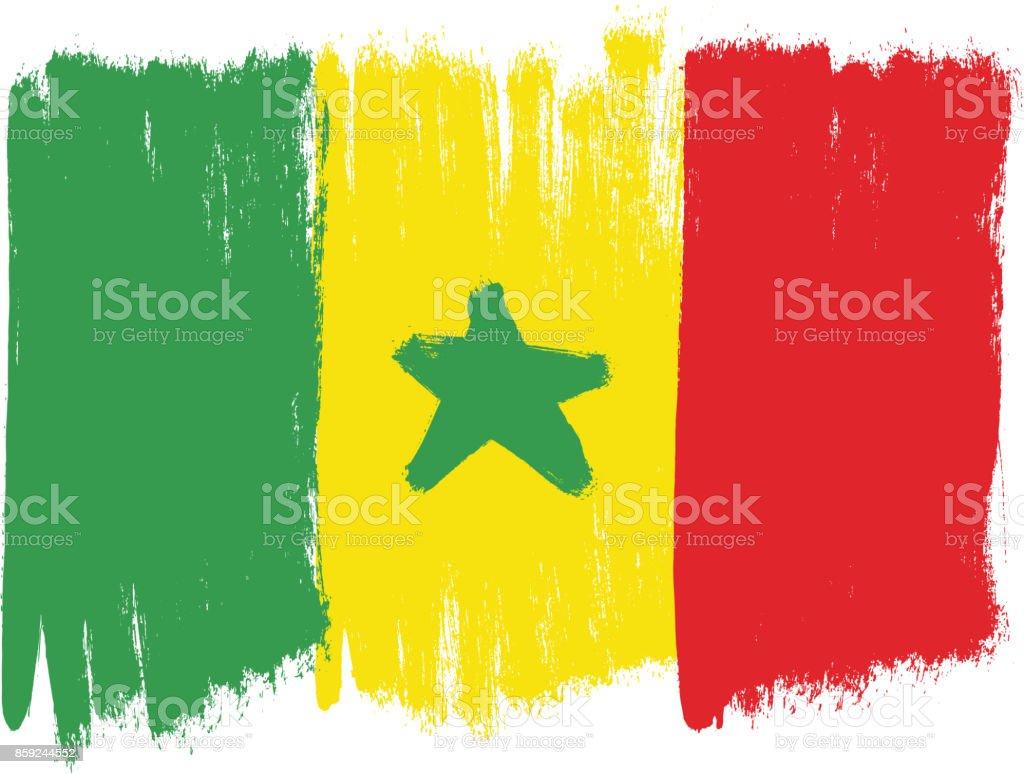 Ilustración De Senegal Bandera Vector Pintadas A Mano Con