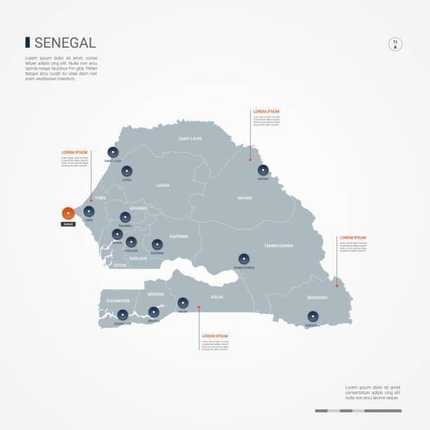 senegal infographic map vector illustration. - senegal stock illustrations