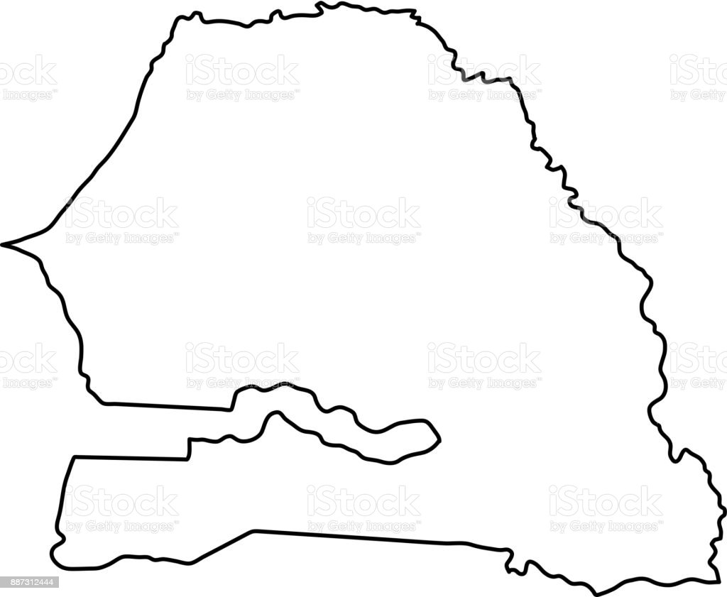Senegal Map Of Black Contour Curves On White Background Of Vector - Senegal map vector