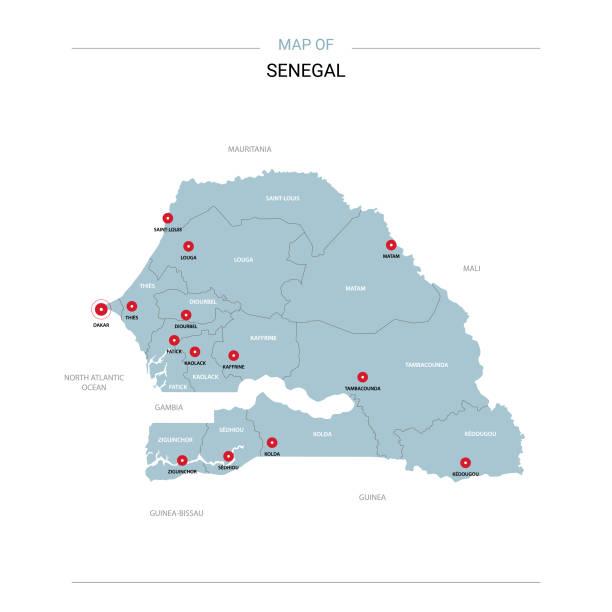 senegal map vector with red pin. - senegal stock illustrations