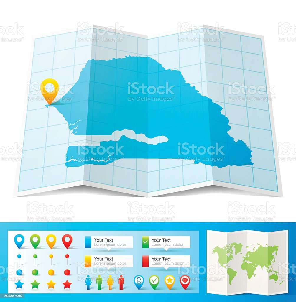 Senegal Map With Location Pins Isolated On White Background Stock