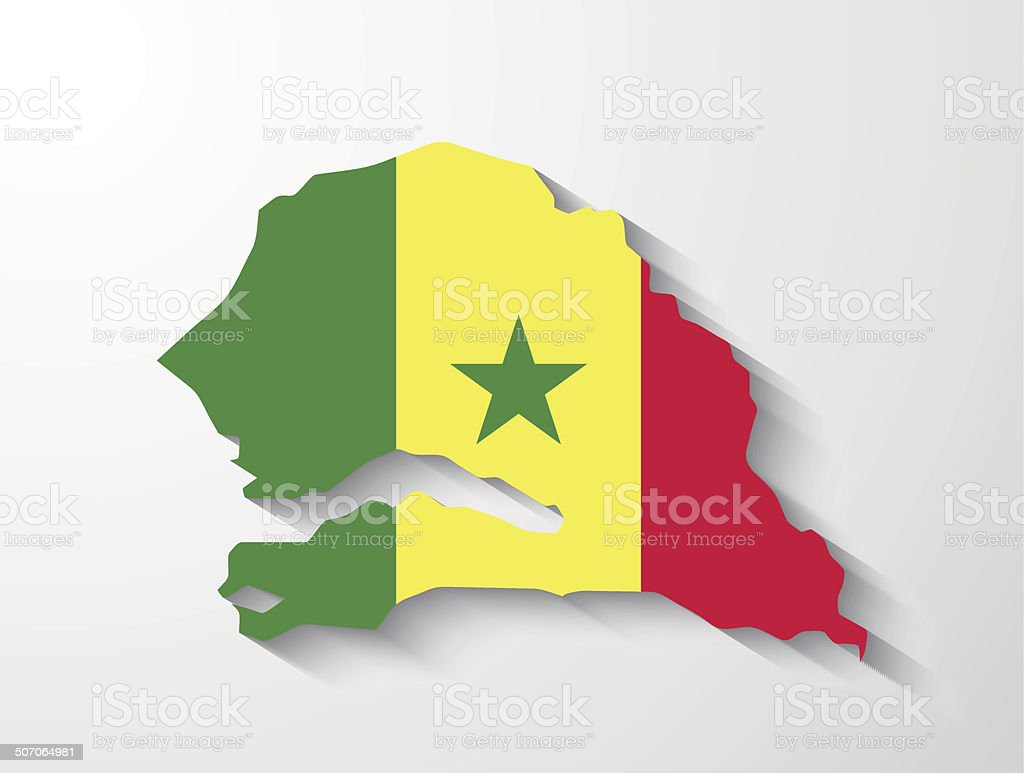 Senegal map with shadow effect presentation royalty-free stock vector art