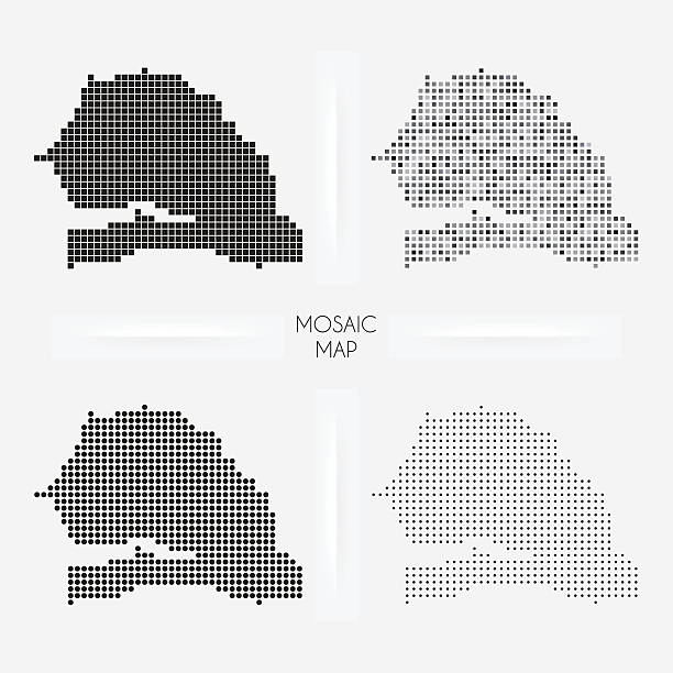 senegal mapy-mozaiki squarred i groszki - senegal stock illustrations